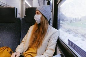 Coronavirus anxiety, woman with face mask