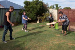 backyard cricket at xmas
