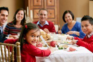family around xmas dining table